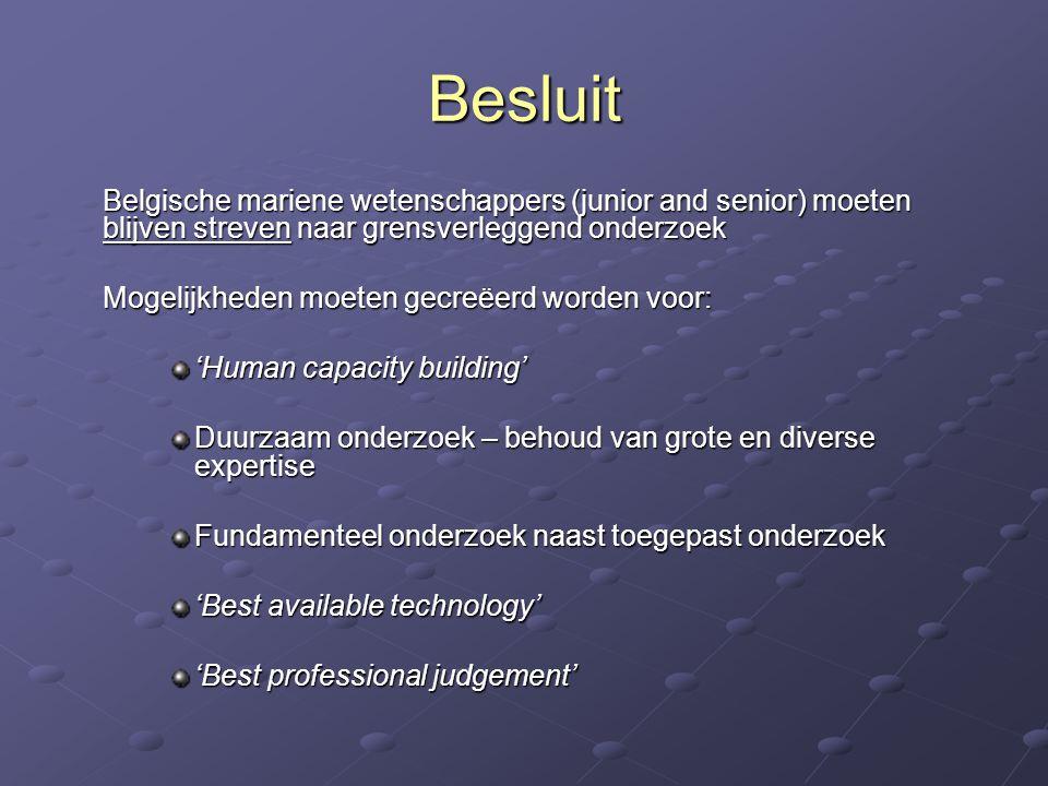 Besluit Belgische mariene wetenschappers (junior and senior) moeten blijven streven naar grensverleggend onderzoek Mogelijkheden moeten gecreëerd word