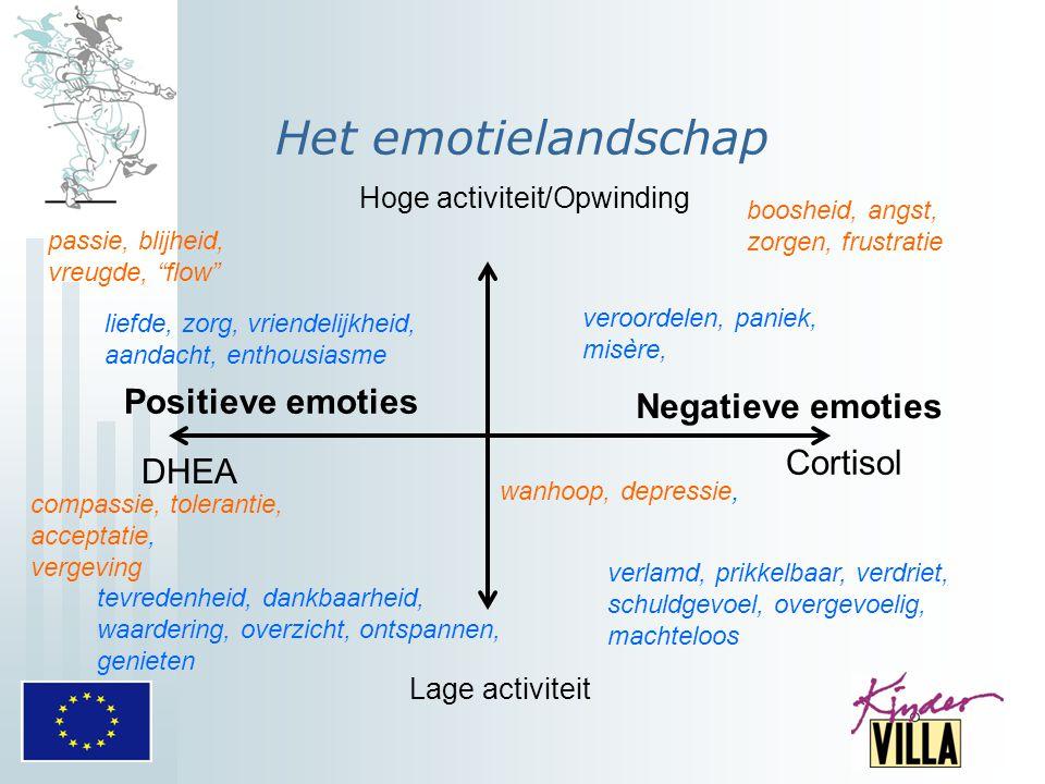 Het emotielandschap Hoge activiteit/Opwinding Lage activiteit Negatieve emoties Cortisol Positieve emoties DHEA boosheid, angst, zorgen, frustratie pa