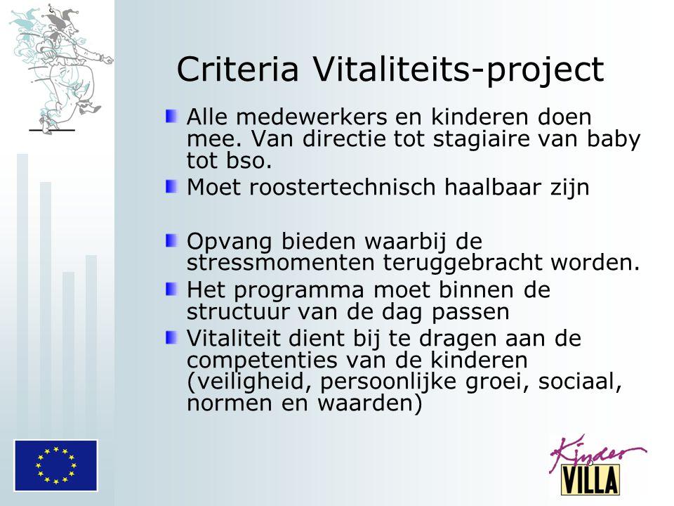 Criteria Vitaliteits-project Alle medewerkers en kinderen doen mee. Van directie tot stagiaire van baby tot bso. Moet roostertechnisch haalbaar zijn O