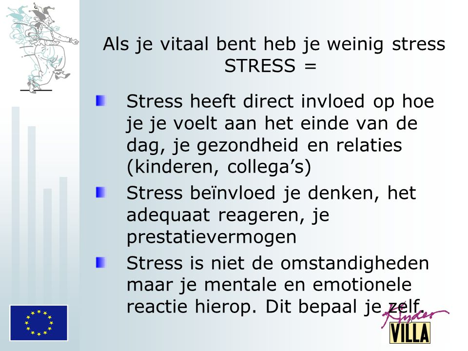 Als je vitaal bent heb je weinig stress STRESS = Stress heeft direct invloed op hoe je je voelt aan het einde van de dag, je gezondheid en relaties (k
