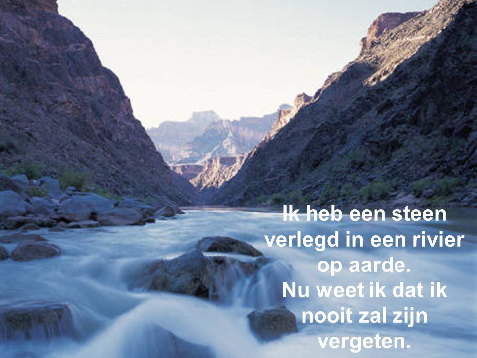 Ik heb een steen verlegd in een rivier op aarde. Nu weet ik dat ik nooit zal zijn vergeten.