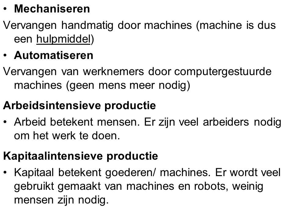 Mechaniseren Vervangen handmatig door machines (machine is dus een hulpmiddel) Automatiseren Vervangen van werknemers door computergestuurde machines