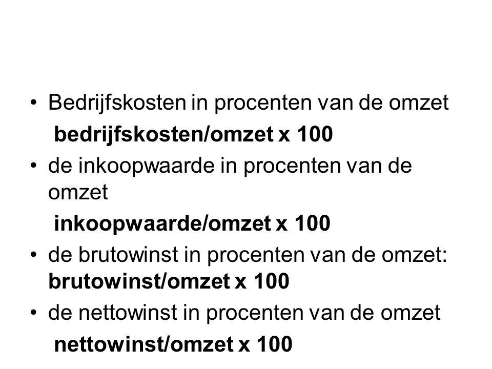 Brutowinst = omzet - inkoopwaarde Nettowinst = brutowinst - bedrijfskosten Omzet = de verkoopopbrengst in een bepaalde periode Deel van geheel Nettowinst Bedrijfskosten Inkoopwaarde €55.000/ €220.000 x 100 = 25% €77.000/ €220.000 x 100 = 35% Deel in procent = deel wat je wilt weten/ omzet x 100 €88.000/ €220.000 x 100 = 40%