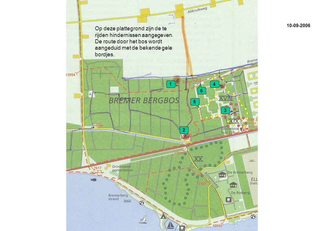 1 2 3 4 6 5 Op deze plattegrond zijn de te rijden hindernissen aangegeven.