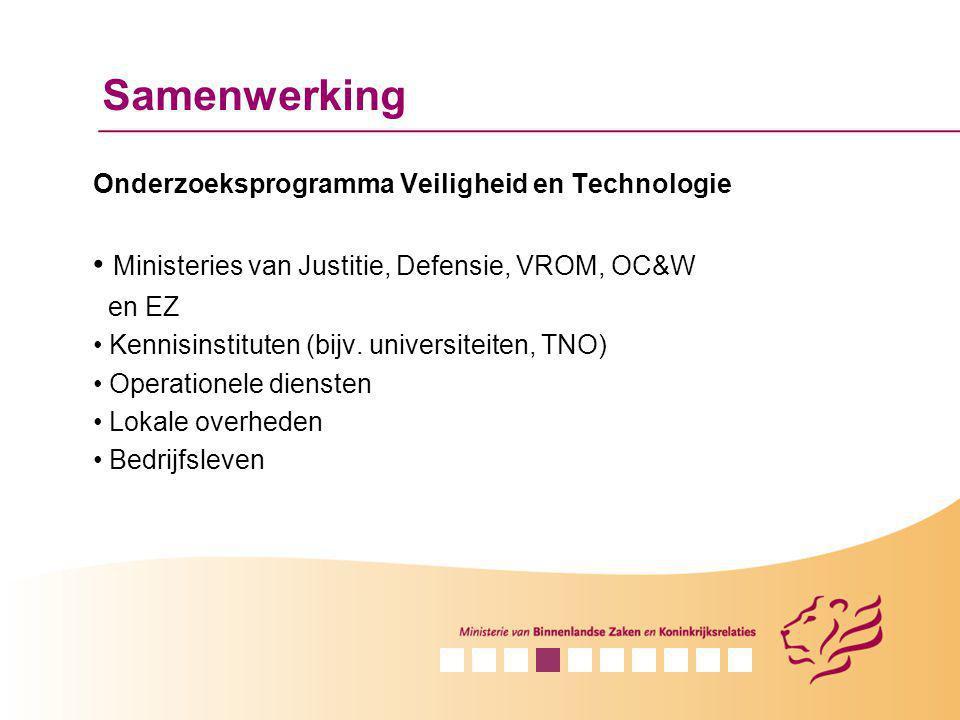 Samenwerking Onderzoeksprogramma Veiligheid en Technologie Ministeries van Justitie, Defensie, VROM, OC&W en EZ Kennisinstituten (bijv. universiteiten