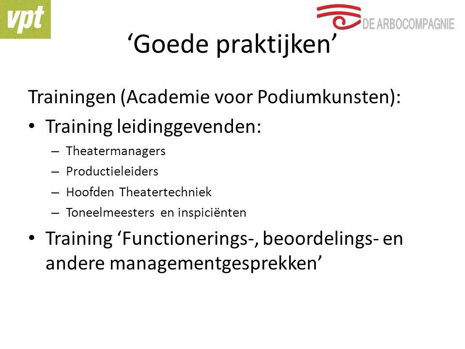 'Goede praktijken' Trainingen (Academie voor Podiumkunsten): Training leidinggevenden: – Theatermanagers – Productieleiders – Hoofden Theatertechniek