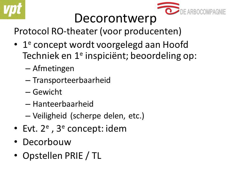 Decorontwerp Protocol RO-theater (voor producenten) 1 e concept wordt voorgelegd aan Hoofd Techniek en 1 e inspiciënt; beoordeling op: – Afmetingen – Transporteerbaarheid – Gewicht – Hanteerbaarheid – Veiligheid (scherpe delen, etc.) Evt.
