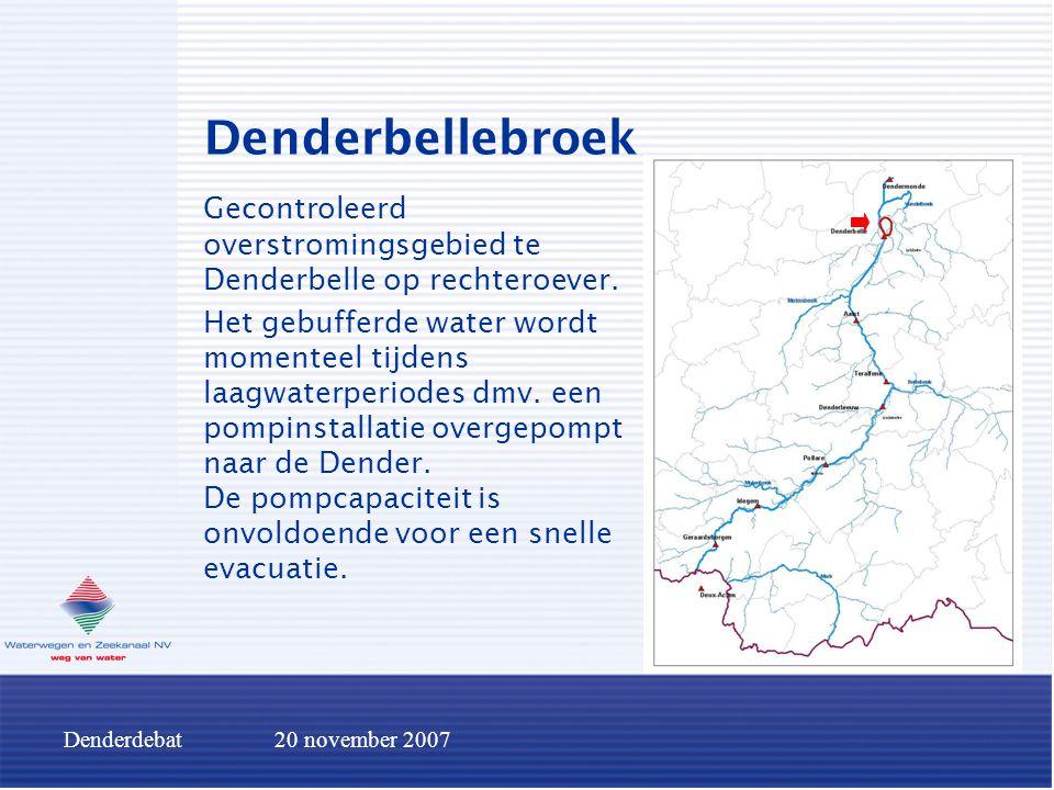 Denderdebat20 november 2007 Denderbellebroek Gecontroleerd overstromingsgebied te Denderbelle op rechteroever. Het gebufferde water wordt momenteel ti