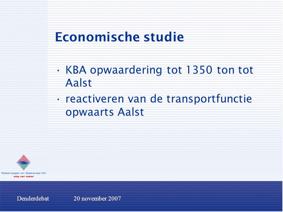 Denderdebat20 november 2007 Economische studie KBA opwaardering tot 1350 ton tot Aalst reactiveren van de transportfunctie opwaarts Aalst