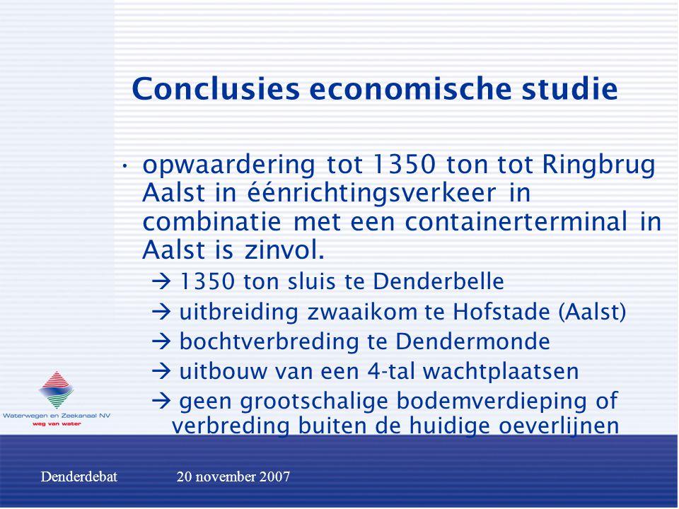 Denderdebat20 november 2007 Conclusies economische studie opwaardering tot 1350 ton tot Ringbrug Aalst in éénrichtingsverkeer in combinatie met een co