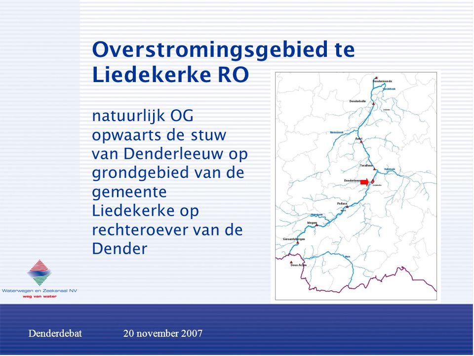 Denderdebat20 november 2007 Conclusies betreffende het inrichten van overstromingsgebieden positief effect is steeds beperkt afwaarts gelegen overstromingsgebieden worden minder belast complexe sturing van verschillende gebieden  belang accurate voorspellingen.