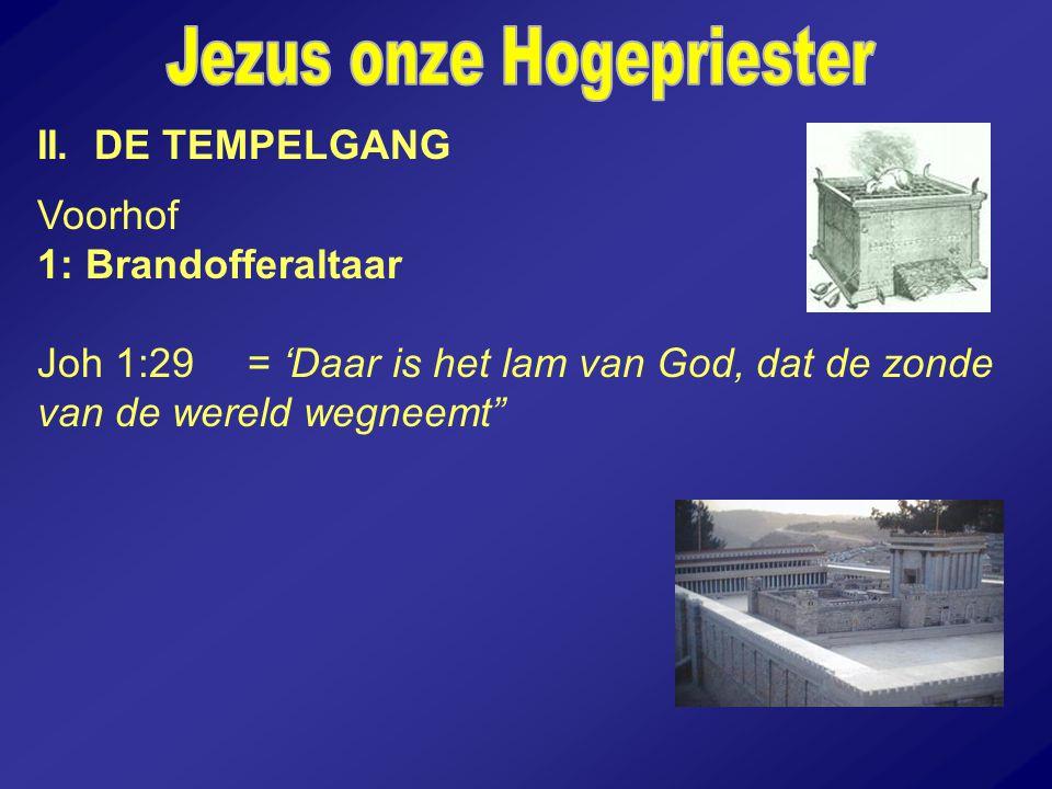 """II. DE TEMPELGANG Voorhof 1: Brandofferaltaar Joh 1:29 = 'Daar is het lam van God, dat de zonde van de wereld wegneemt"""""""