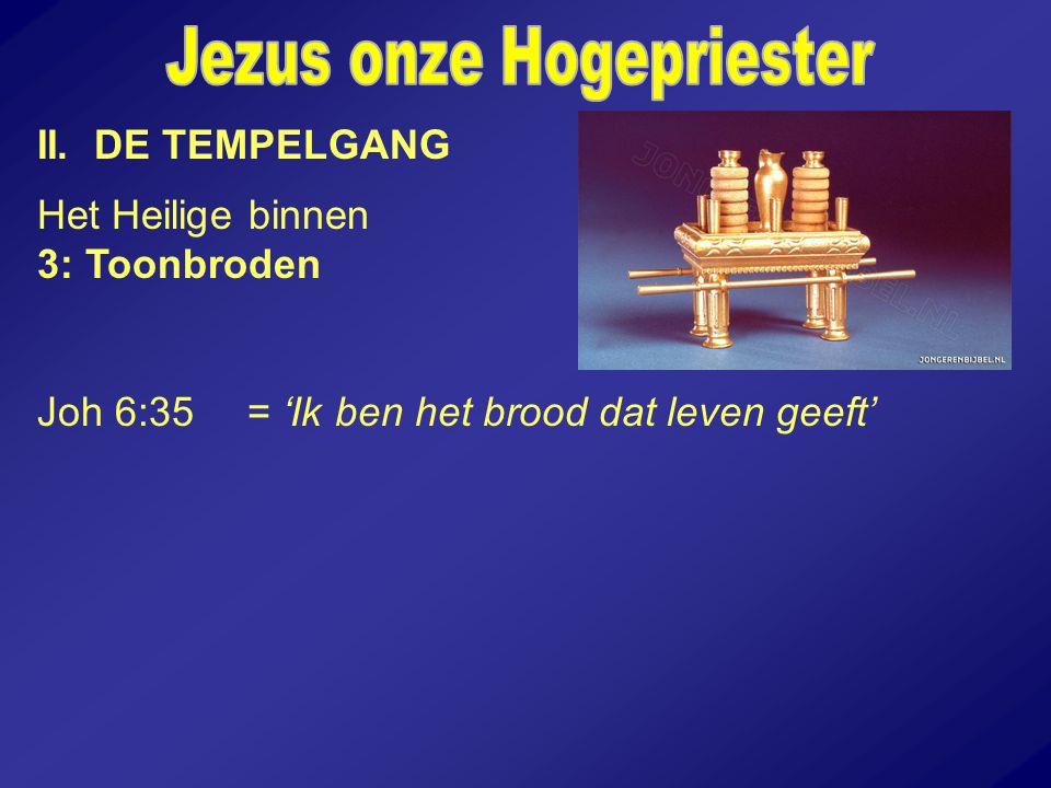 II. DE TEMPELGANG Het Heilige binnen 3: Toonbroden Joh 6:35 = 'Ik ben het brood dat leven geeft'