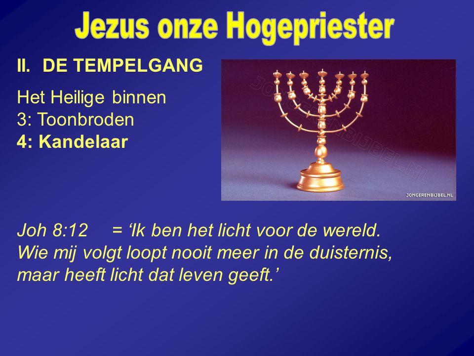 II. DE TEMPELGANG Het Heilige binnen 3: Toonbroden 4: Kandelaar Joh 8:12= 'Ik ben het licht voor de wereld. Wie mij volgt loopt nooit meer in de duist