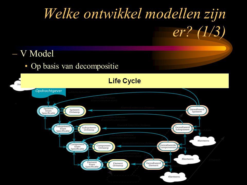 –V Model Op basis van decompositie Life Cycle Welke ontwikkel modellen zijn er? (1/3)