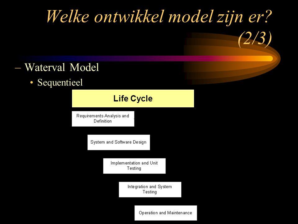 –Waterval Model Sequentieel Life Cycle Welke ontwikkel model zijn er? (2/3)