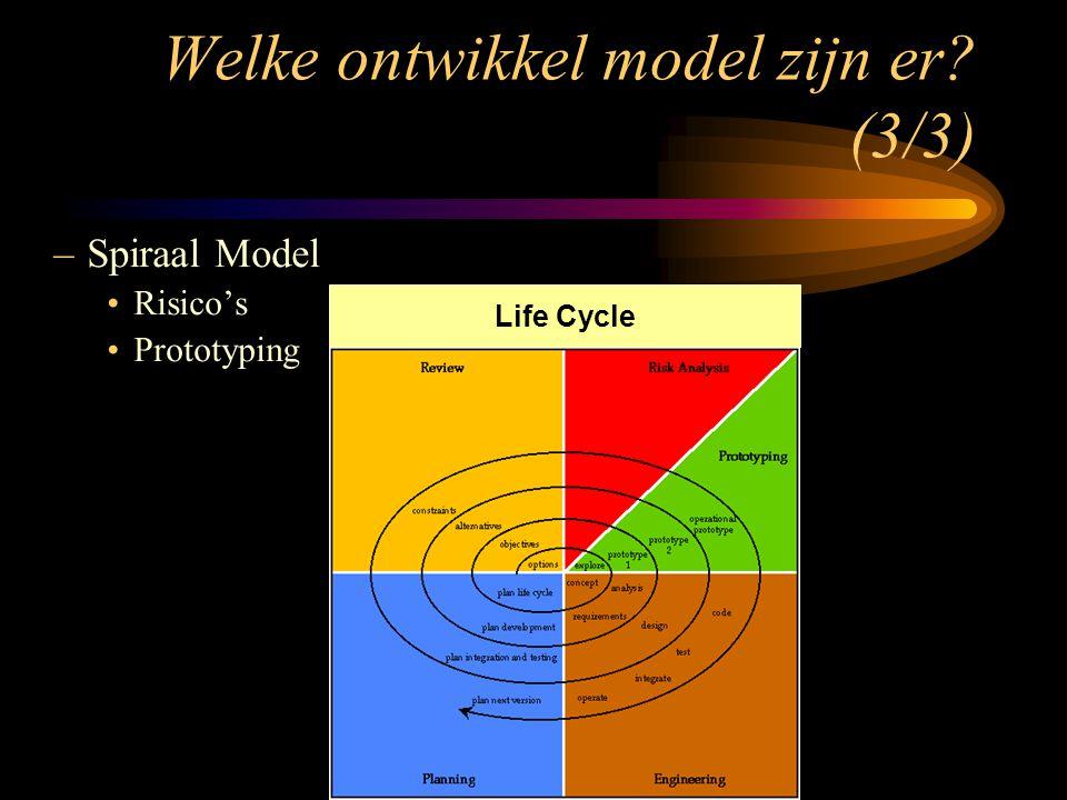–Spiraal Model Risico's Prototyping Life Cycle Welke ontwikkel model zijn er? (3/3)
