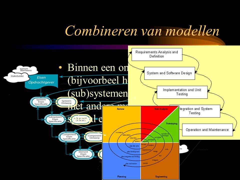 Binnen een ontwikkel model (bijvoorbeel het V-model) kunnen (sub)systemen ontwikkeld worden met andere modellen (V-model, spiraal en waterval). Combin