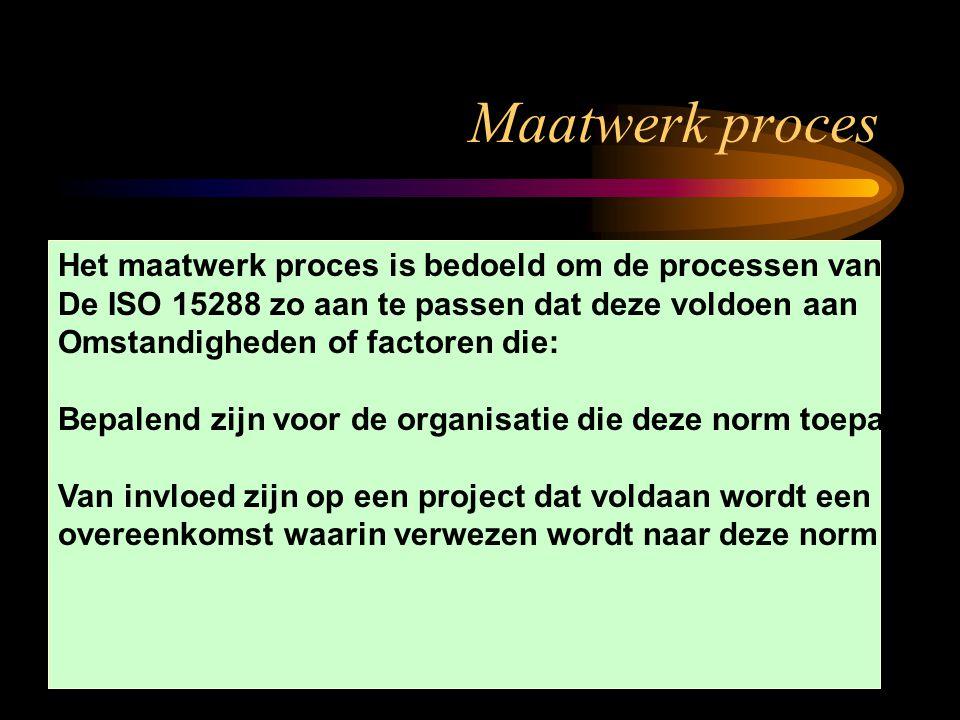 Op maat Maak proces Het maatwerk proces is bedoeld om de processen van De ISO 15288 zo aan te passen dat deze voldoen aan Omstandigheden of factoren d