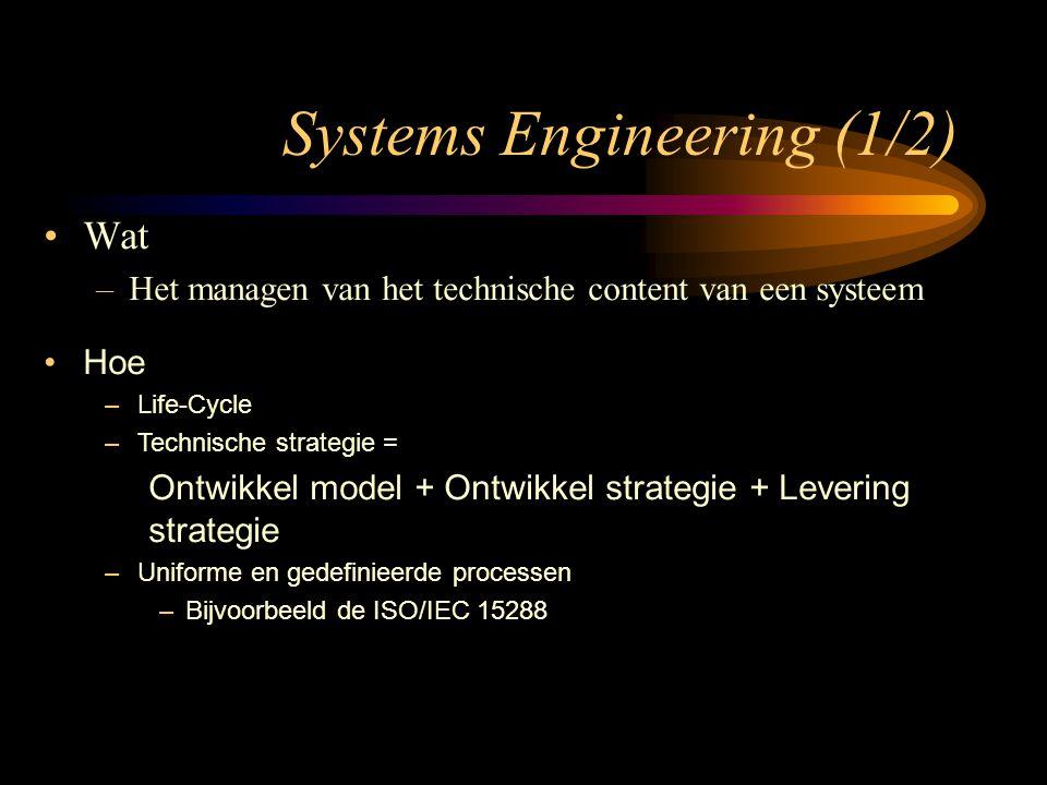 Wat –Het managen van het technische content van een systeem Hoe –Life-Cycle –Technische strategie = Ontwikkel model + Ontwikkel strategie + Levering s