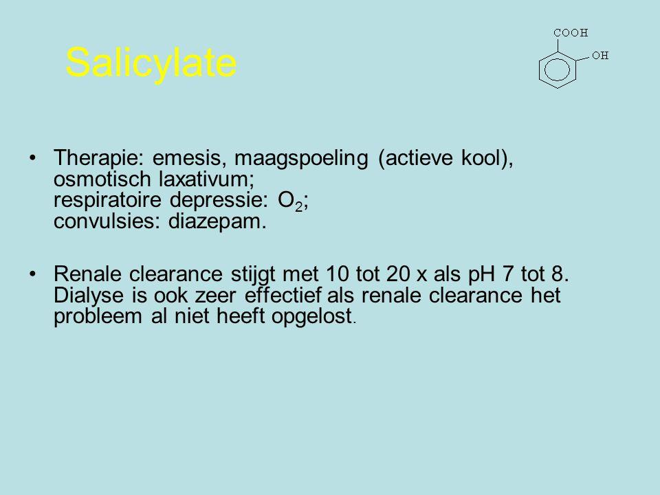 Therapie: emesis, maagspoeling (actieve kool), osmotisch laxativum; respiratoire depressie: O 2 ; convulsies: diazepam.
