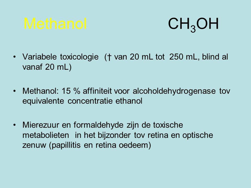 Methanol CH 3 OH Variabele toxicologie († van 20 mL tot 250 mL, blind al vanaf 20 mL) Methanol: 15 % affiniteit voor alcoholdehydrogenase tov equivalente concentratie ethanol Mierezuur en formaldehyde zijn de toxische metabolieten in het bijzonder tov retina en optische zenuw (papillitis en retina oedeem)