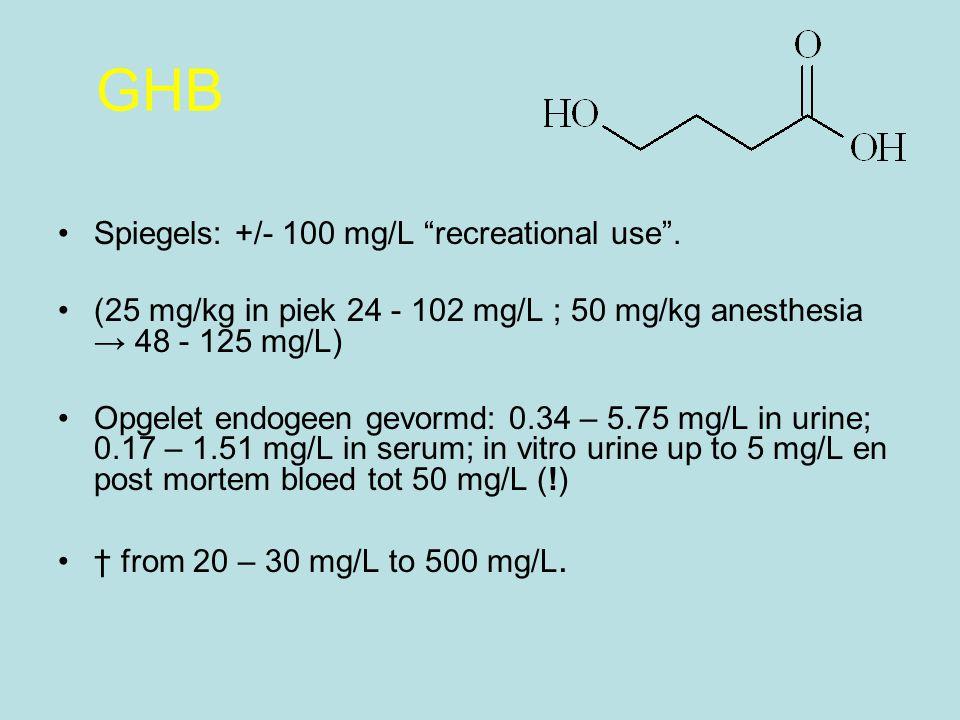 GHB Spiegels: +/- 100 mg/L recreational use .