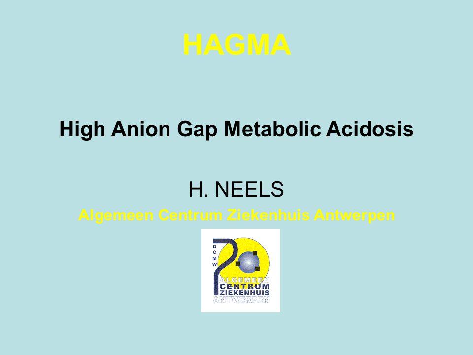 HAGMA High Anion Gap Metabolic Acidosis H. NEELS Algemeen Centrum Ziekenhuis Antwerpen