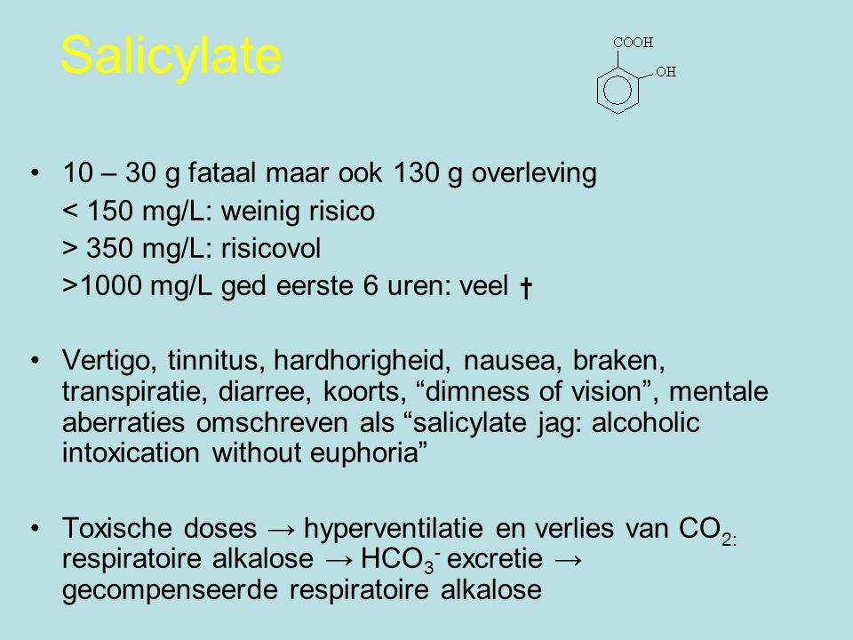 Salicylate 10 – 30 g fataal maar ook 130 g overleving < 150 mg/L: weinig risico > 350 mg/L: risicovol >1000 mg/L ged eerste 6 uren: veel † Vertigo, tinnitus, hardhorigheid, nausea, braken, transpiratie, diarree, koorts, dimness of vision , mentale aberraties omschreven als salicylate jag: alcoholic intoxication without euphoria Toxische doses → hyperventilatie en verlies van CO 2: respiratoire alkalose → HCO 3 - excretie → gecompenseerde respiratoire alkalose