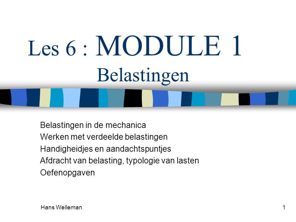Hans Welleman1 Les 6 : MODULE 1 Belastingen Belastingen in de mechanica Werken met verdeelde belastingen Handigheidjes en aandachtspuntjes Afdracht va