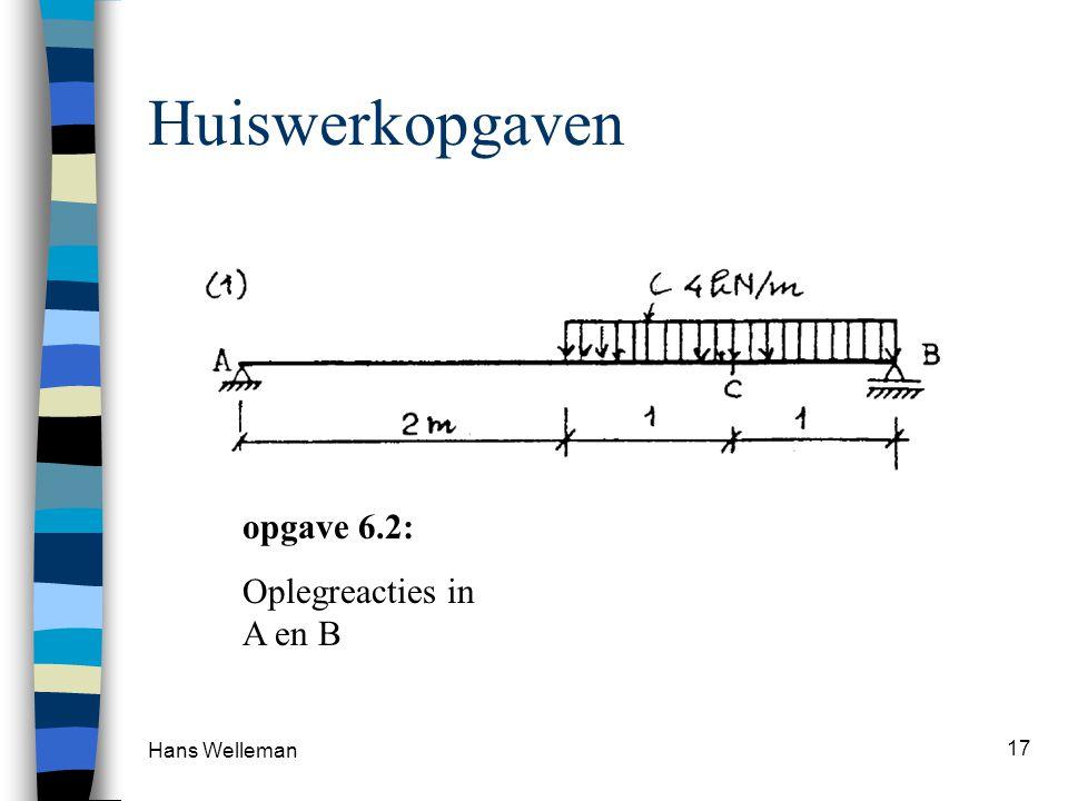 Hans Welleman 17 Huiswerkopgaven opgave 6.2: Oplegreacties in A en B
