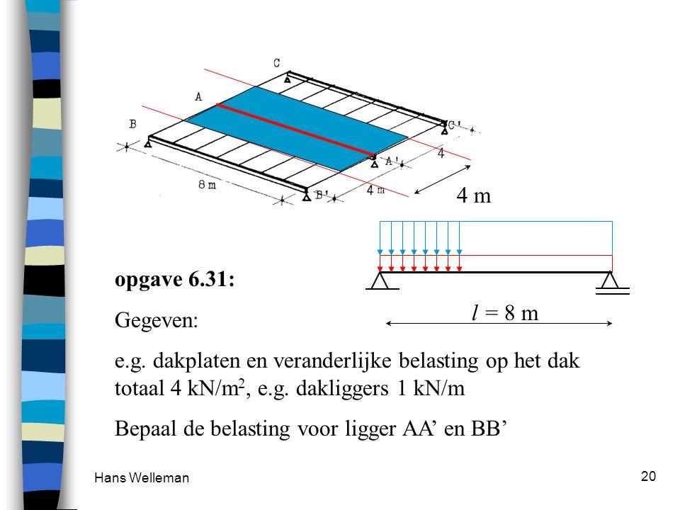 Hans Welleman 20 opgave 6.31: Gegeven: e.g. dakplaten en veranderlijke belasting op het dak totaal 4 kN/m 2, e.g. dakliggers 1 kN/m Bepaal de belastin