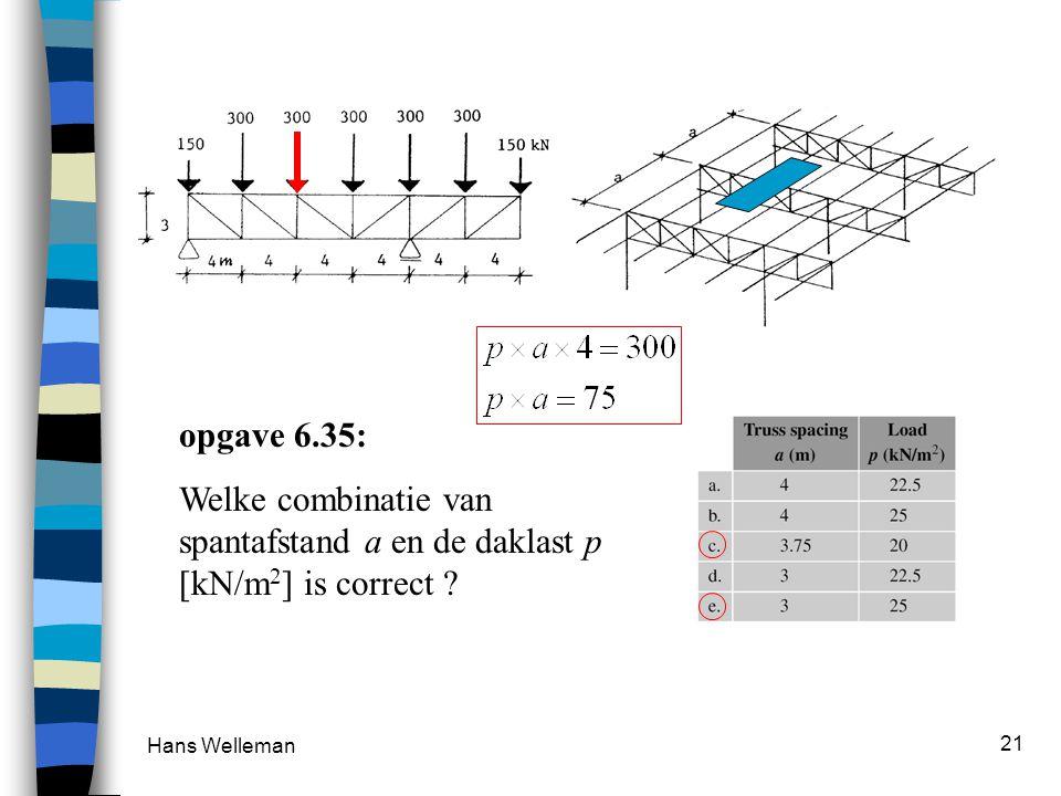 Hans Welleman 21 opgave 6.35: Welke combinatie van spantafstand a en de daklast p [kN/m 2 ] is correct ?