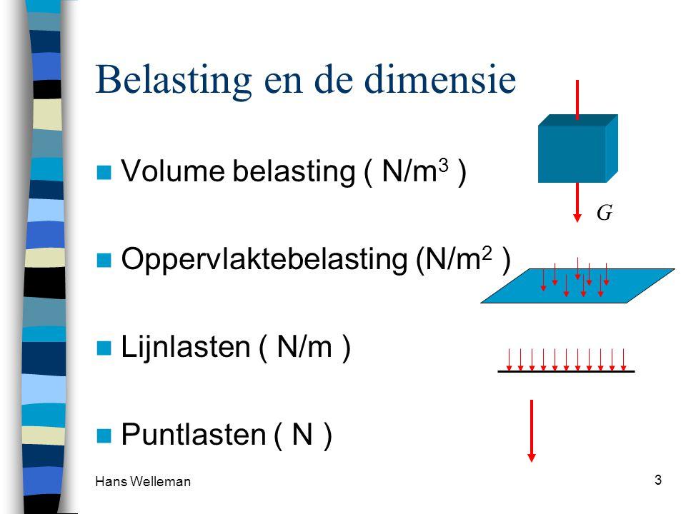Hans Welleman 3 Belasting en de dimensie Volume belasting ( N/m 3 ) Oppervlaktebelasting (N/m 2 ) Lijnlasten ( N/m ) Puntlasten ( N ) G