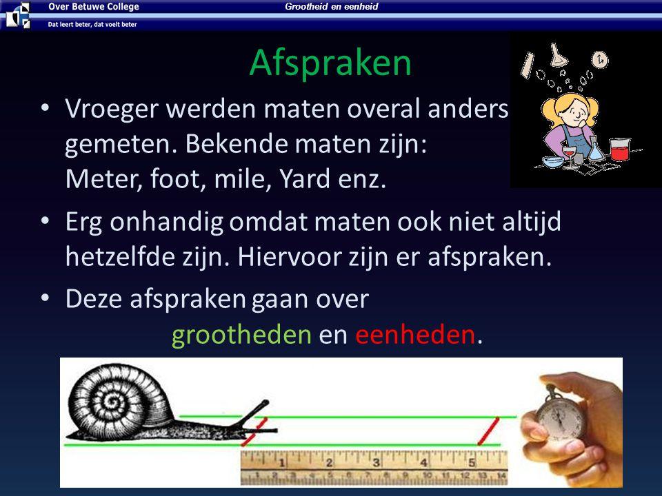 Afspraken Vroeger werden maten overal anders gemeten. Bekende maten zijn: Meter, foot, mile, Yard enz. Erg onhandig omdat maten ook niet altijd hetzel