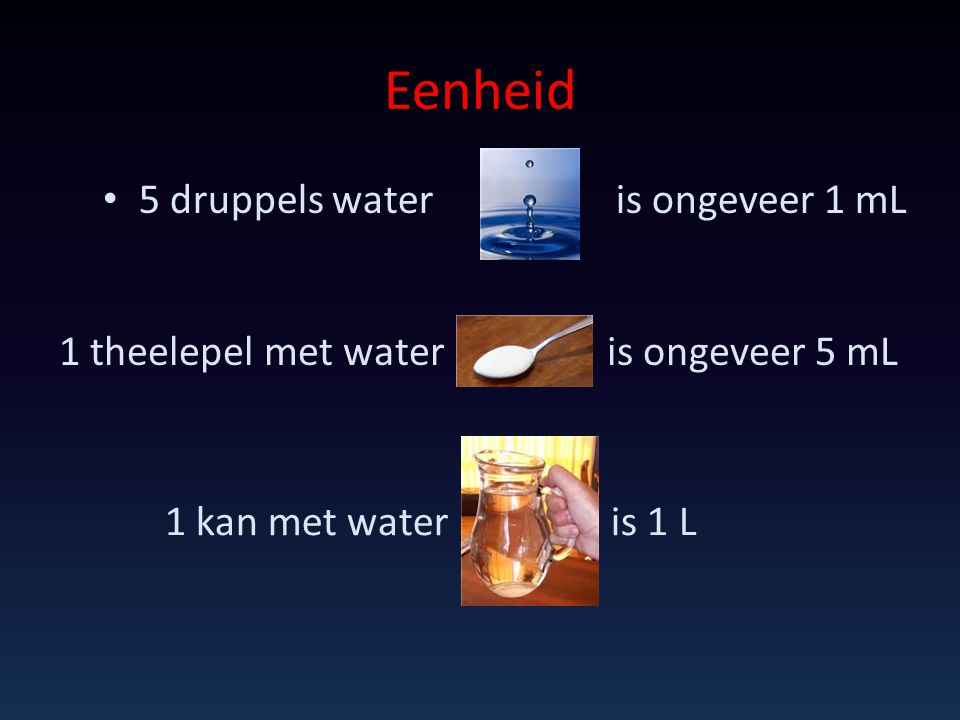 Eenheid 5 druppels water is ongeveer 1 mL 1 theelepel met water is ongeveer 5 mL 1 kan met water is 1 L