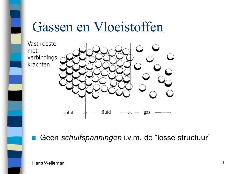 """Hans Welleman 3 Gassen en Vloeistoffen Geen schuifspanningen i.v.m. de """"losse structuur"""" Vast rooster met verbindings krachten"""