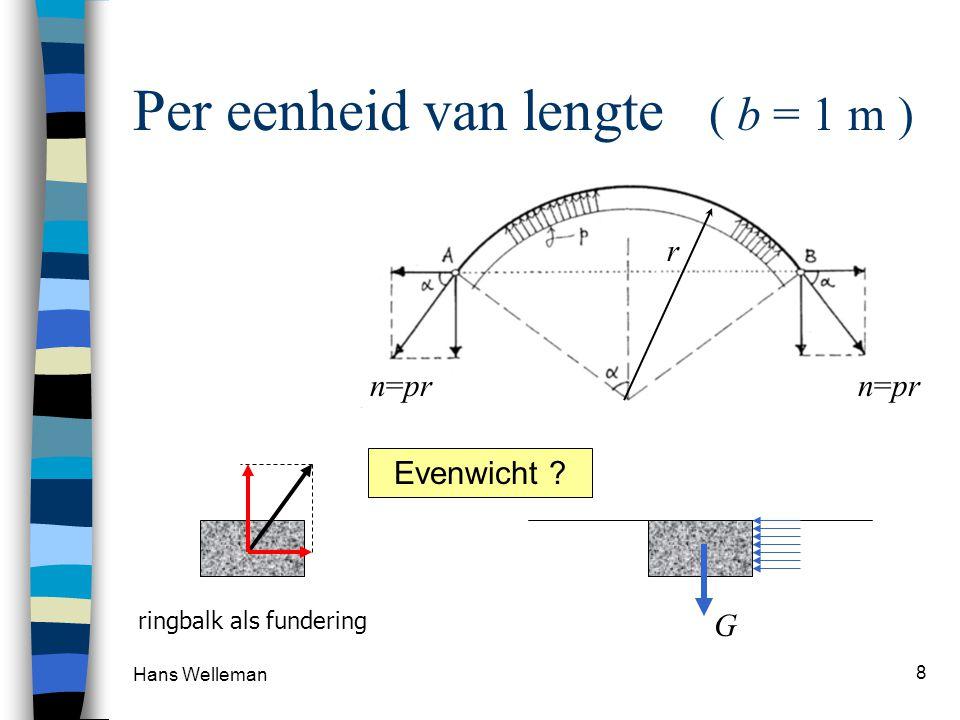 Hans Welleman 9 WATERDRUK Lineair verdeelde belasting waterreservoir waterdruk neemt lineair toe met de diepte keerwand h = 5,0 m Waterdruk op diepte h :