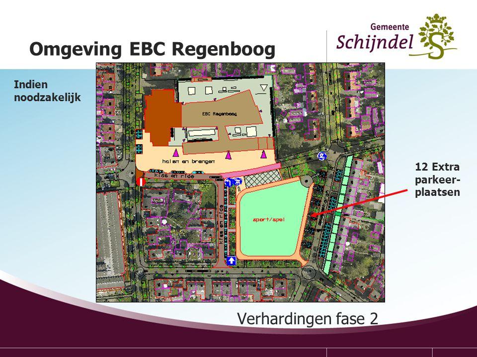 Verhardingen fase 2 Omgeving EBC Regenboog 12 Extra parkeer- plaatsen Indien noodzakelijk