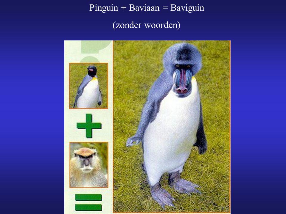 Pinguin + Baviaan = Baviguin (zonder woorden)