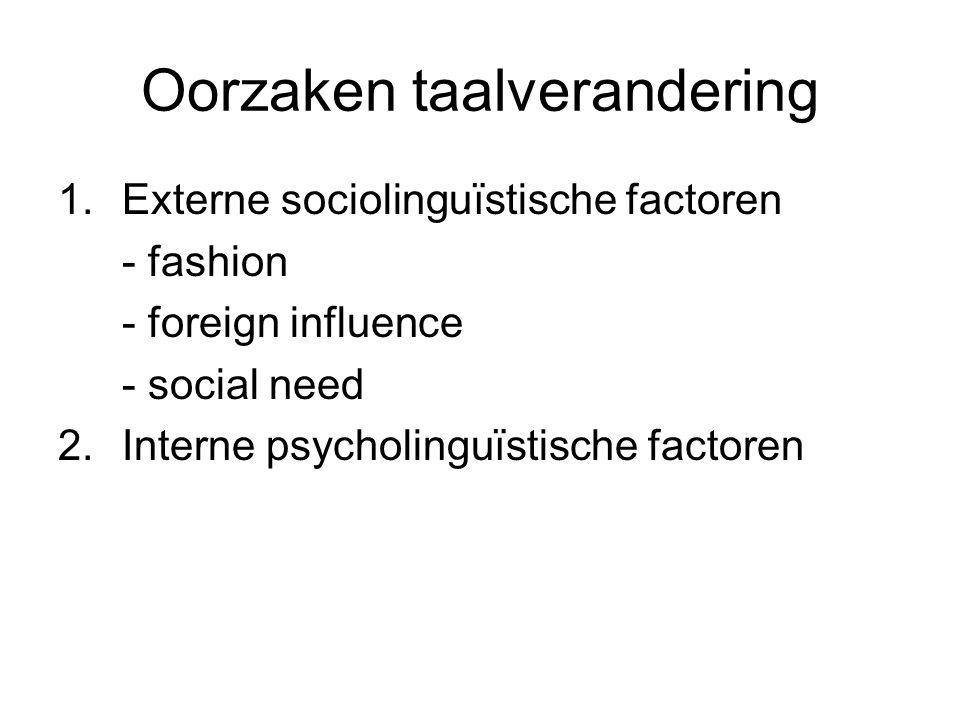 Oorzaken taalverandering 1.Externe sociolinguïstische factoren - fashion - foreign influence - social need 2.