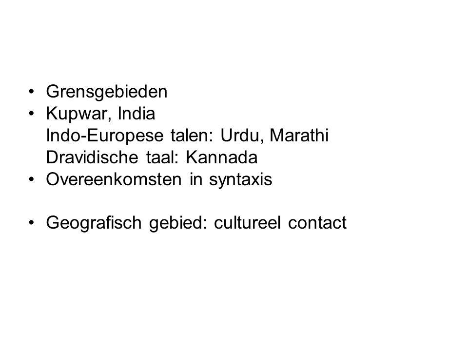 Grensgebieden Kupwar, India Indo-Europese talen: Urdu, Marathi Dravidische taal: Kannada Overeenkomsten in syntaxis Geografisch gebied: cultureel contact