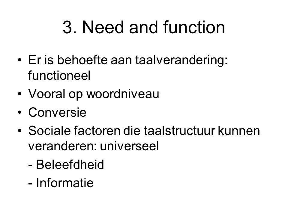 3. Need and function Er is behoefte aan taalverandering: functioneel Vooral op woordniveau Conversie Sociale factoren die taalstructuur kunnen verande