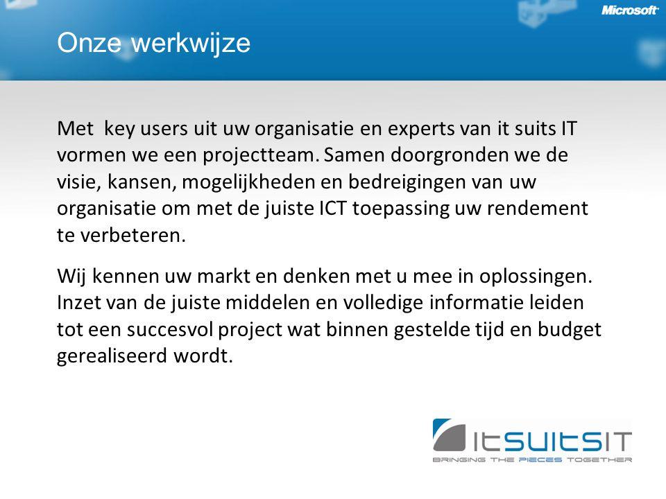 Onze werkwijze Met key users uit uw organisatie en experts van it suits IT vormen we een projectteam.