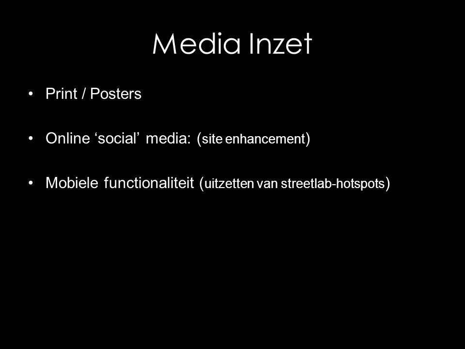 Media Inzet Print / Posters Online 'social' media: ( site enhancement ) Mobiele functionaliteit ( uitzetten van streetlab-hotspots )