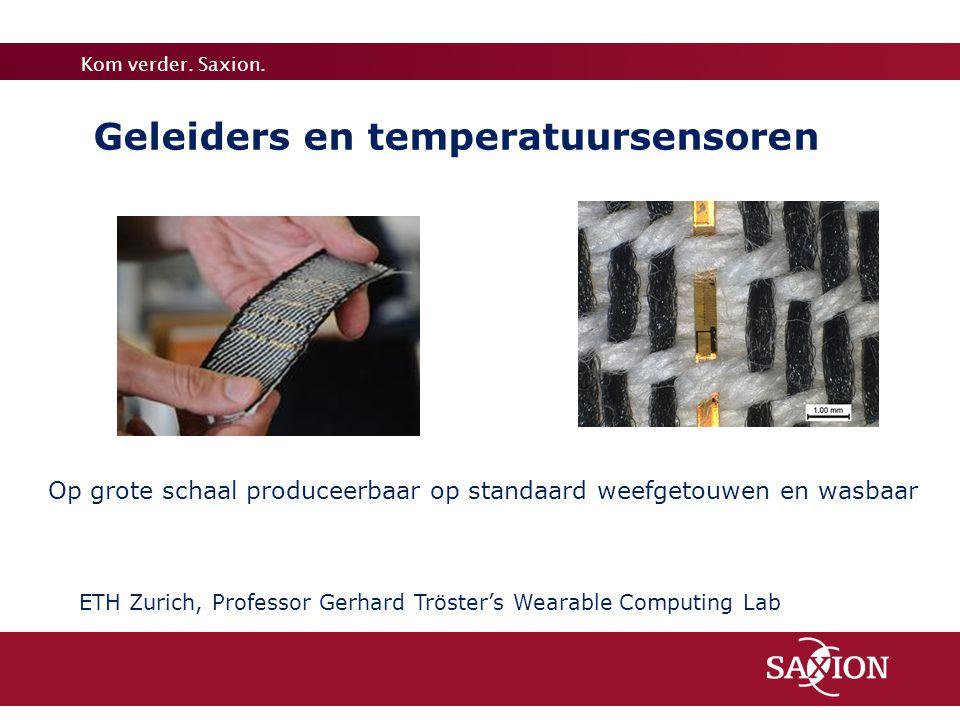 Kom verder. Saxion. ETH Zurich, Professor Gerhard Tröster's Wearable Computing Lab Op grote schaal produceerbaar op standaard weefgetouwen en wasbaar