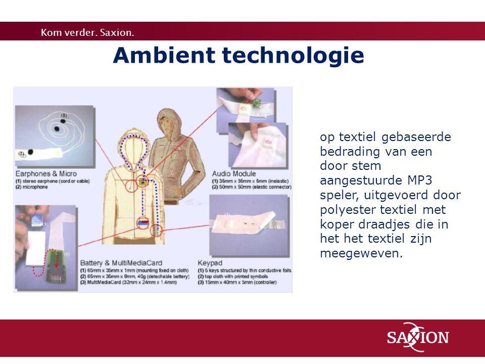 Kom verder. Saxion. Ambient technologie op textiel gebaseerde bedrading van een door stem aangestuurde MP3 speler, uitgevoerd door polyester textiel m