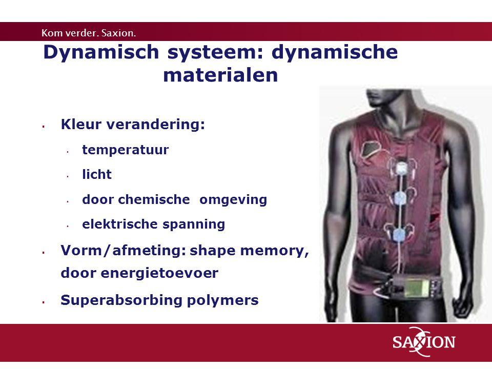 Kom verder. Saxion. Dynamisch systeem: dynamische materialen  Kleur verandering: temperatuur licht door chemische omgeving elektrische spanning  Vor