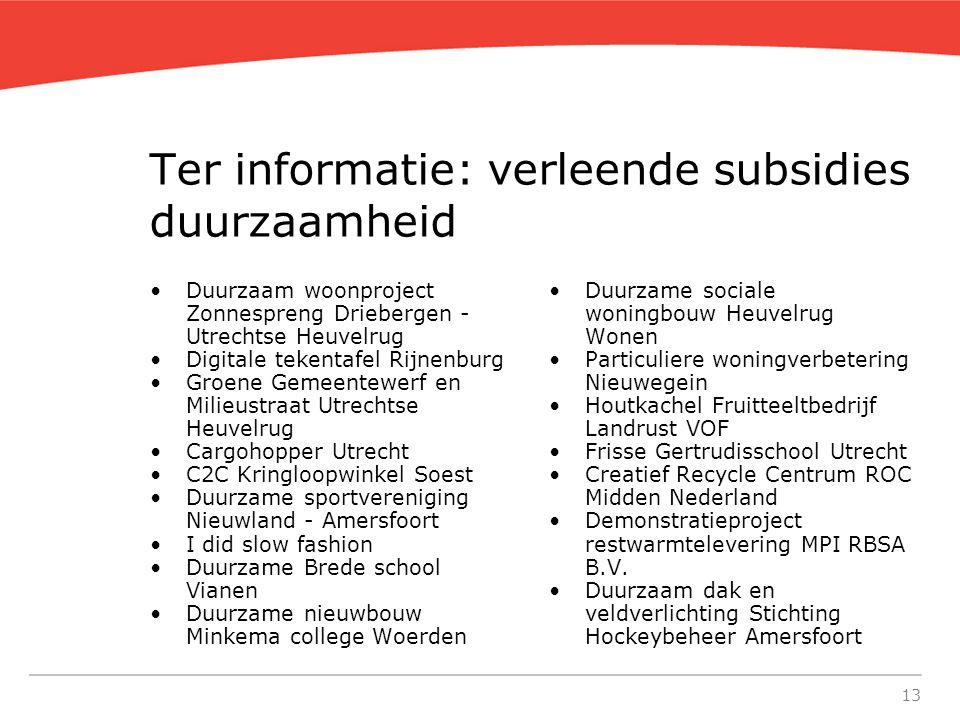 13 Ter informatie: verleende subsidies duurzaamheid Duurzaam woonproject Zonnespreng Driebergen - Utrechtse Heuvelrug Digitale tekentafel Rijnenburg G
