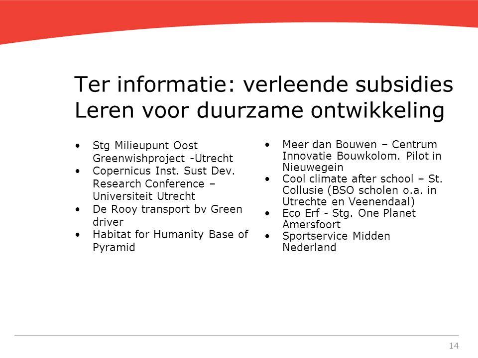 14 Ter informatie: verleende subsidies Leren voor duurzame ontwikkeling Stg Milieupunt Oost Greenwishproject -Utrecht Copernicus Inst.